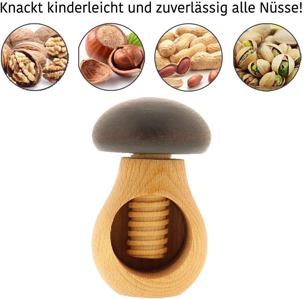 Hofmeister casse noisette champignon avec filetées en bois de hêtre 10 cm nussschraube