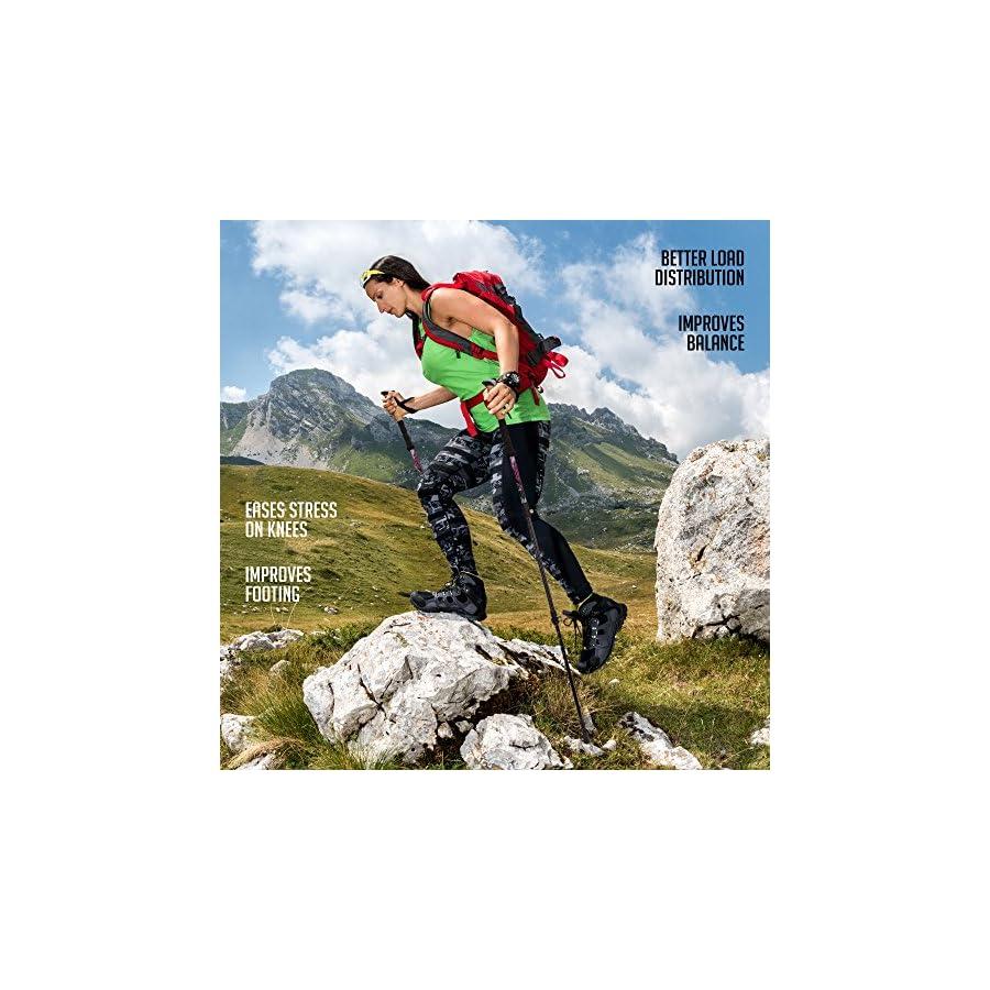 Premium Aluminum Hiking / Trekking Poles With Anti Shock Tips, Walking Sticks With Cork Grips Enjoy Pole Trekking In The Great Outdoors