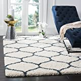Safavieh Hudson Shag Collection SGH280T Ivory and Slate Blue Moroccan Ogee Plush Area Rug (8' x 10')