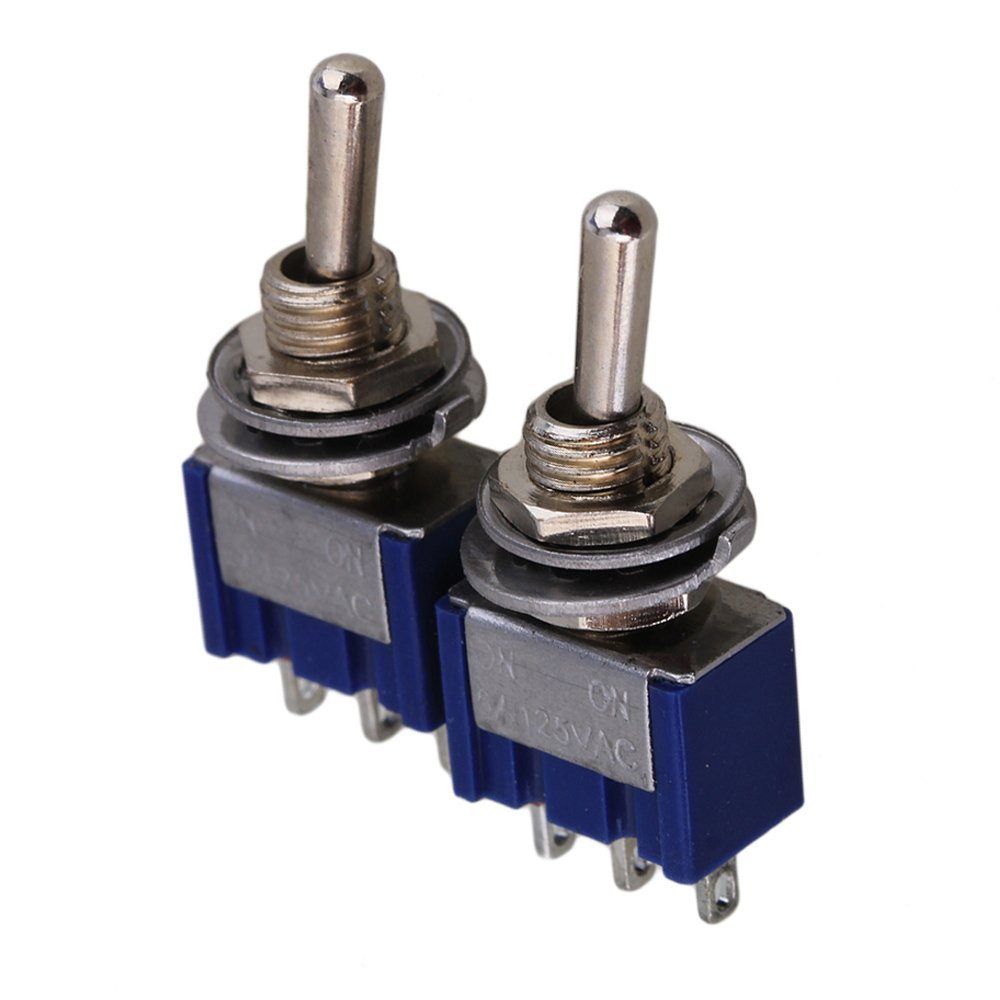Yibuy Blue 2-Way 2P Design AC 125V 6A Single Pole SPDT On/On Toggle Switch Pack of 2 etfshop YB6318