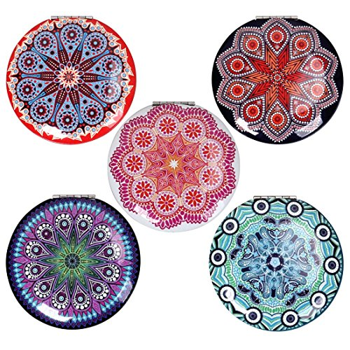 BMC Womens 5 pc Mixed Design Alloy Metal Folding Compact Travel Pocket Beauty Makeup Mirrors - Set 2: Mandala