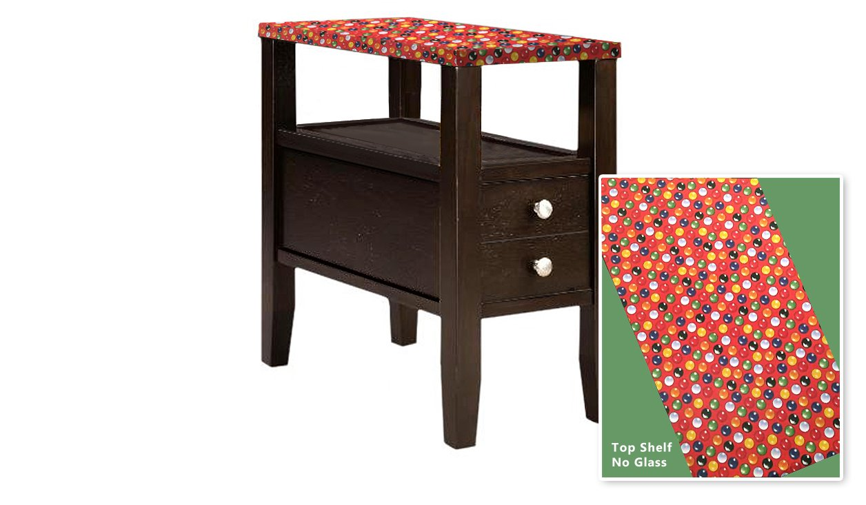 New Cappuccino / Espresso Finish Wooden End Table Night Stand with Drawer featuring Red Bubblegum Themed Top