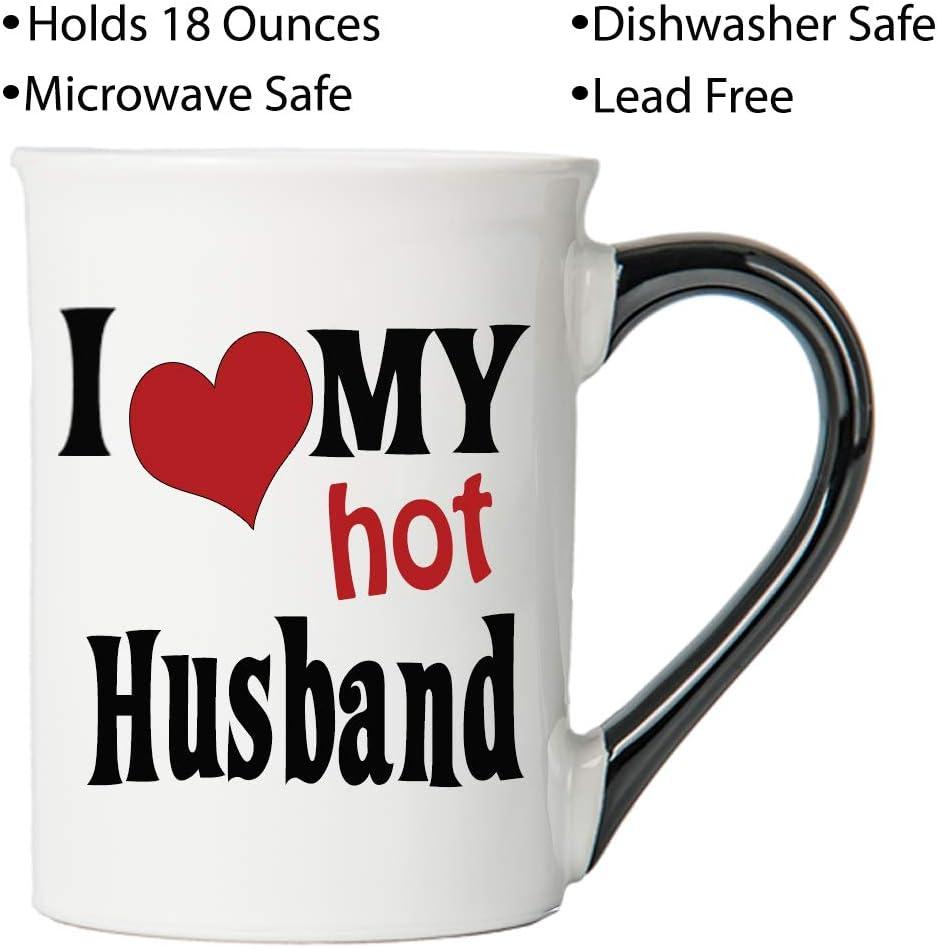 Cottage Creek Coffee Mug I Love My Hot Husband Coffee Mug Large 18oz Ceramic Husband Mug Husband Cup White Kitchen Dining