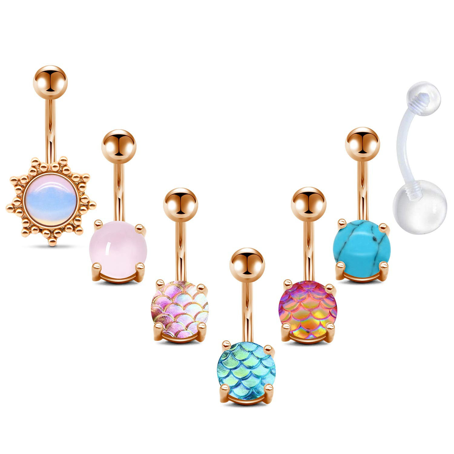 FECTAS Belly Button Rings Surgical Steel for Women Girls Navel Belly Rings Piercing Ring Jewelry Pack Kit 14G by FECTAS