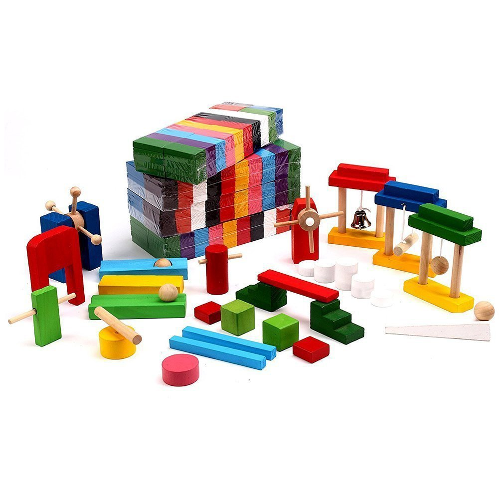 Artempo 500 Pcs Wooden Dominoes Set with 22pcs Special Blocks Large Authentic Domino Racing Game for Kids