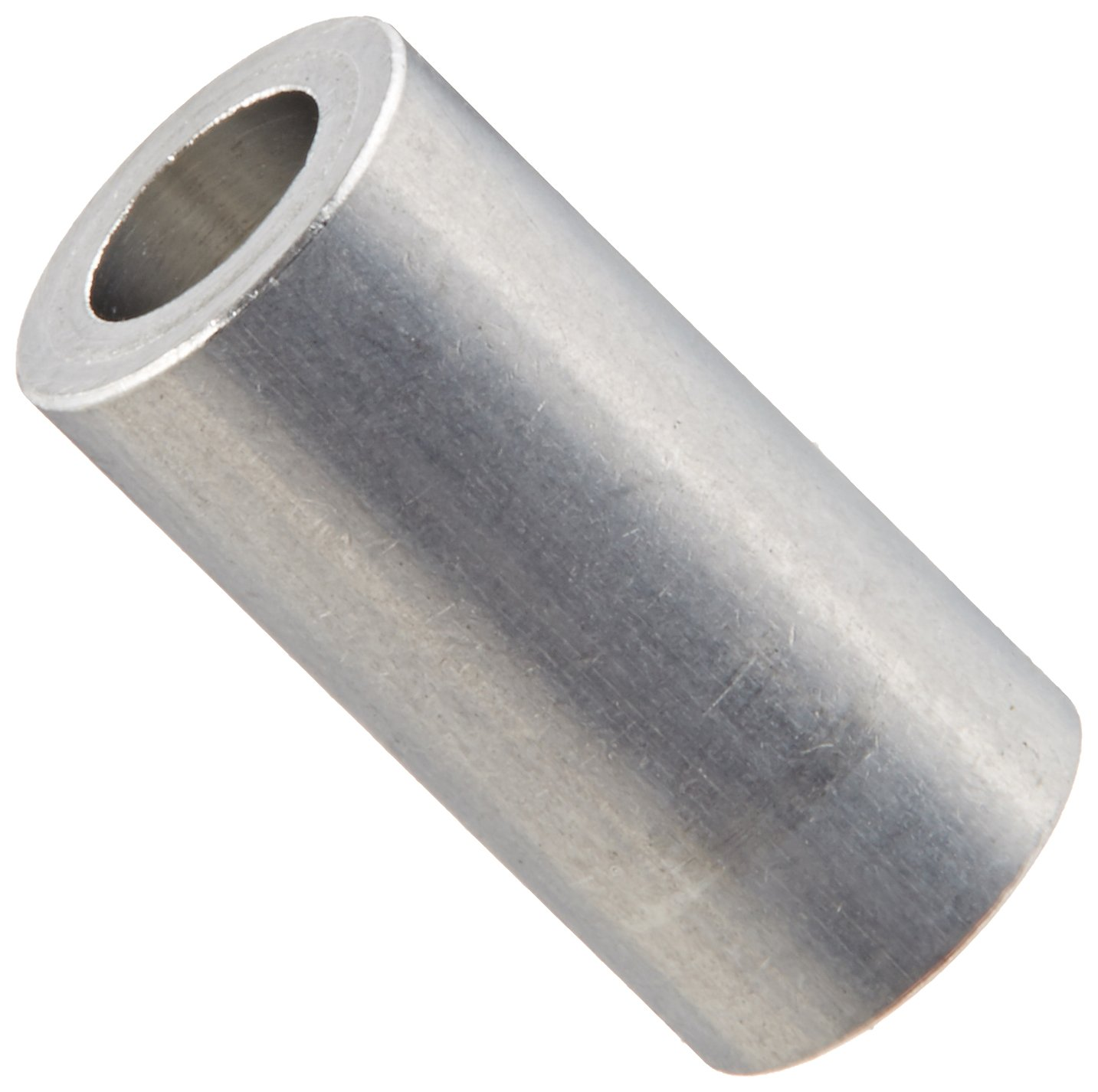 Round Spacer, Aluminum, Plain Finish, #6 Screw Size, 1/4'' OD, 0.14'' ID, 1/2'' Length (Pack of 25)