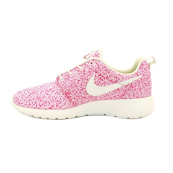 fnmle Nike Roshe Run 511882 101 Womens Laced Mesh Trainers Pink White