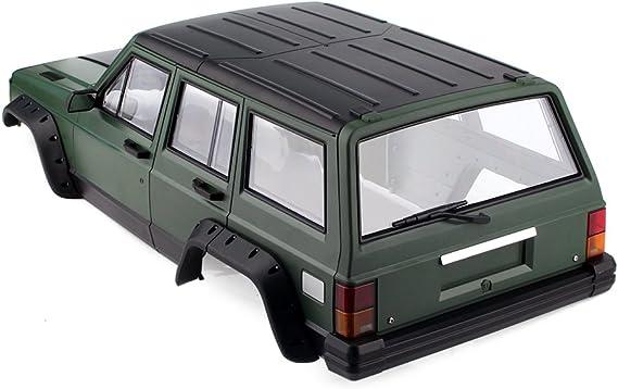 INJORA RC Carrocería Kit 313mm Distancia Entre Ejes Corpo Cuerpo Cherokee Car Shell para 1/10 RC Crawler Axial SCX10 SCX10 II 90046 90047 (Verde)