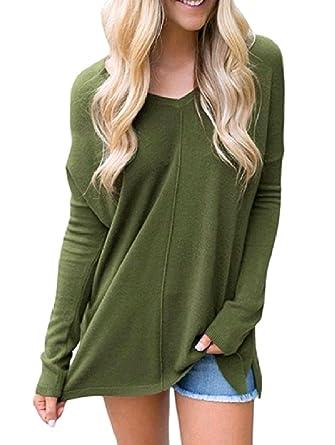 69821adb5d8 Winwinus Womens Long-Sleeve Solid V Neck Loose Casual Leisure Tunic Top  Tees Tshirt Pullover