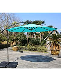 Sumbel Outdoor Living 10 Ft Patio Umbrella Offset Hanging Umbrella Outdoor,  Turquoise