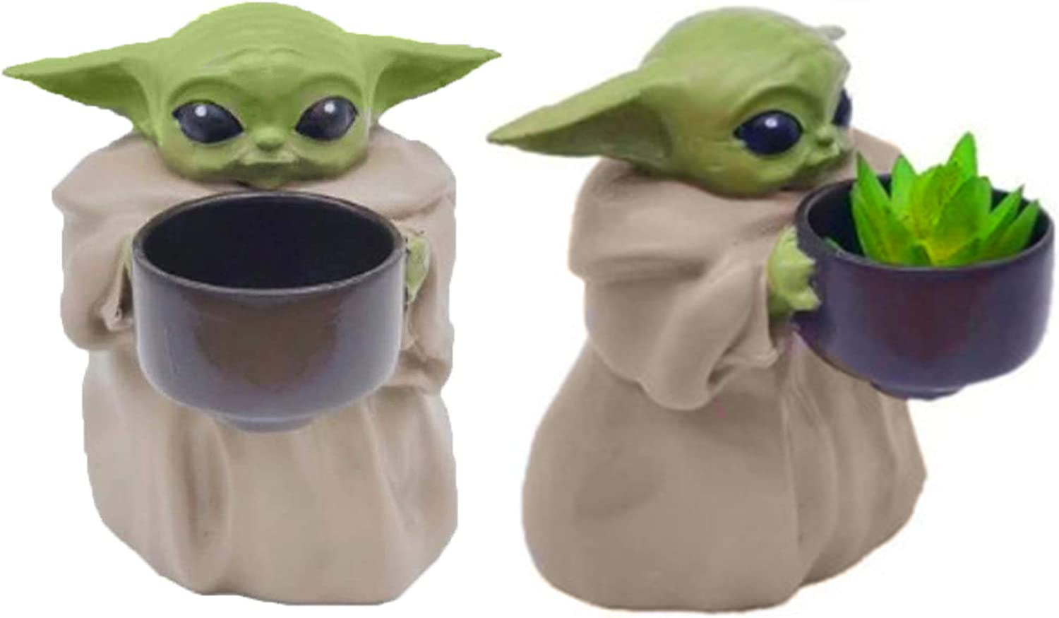 Baby Yoda Planter Pot, 4.2 Inch The Child Holding Cup Creative Ornament Flower Pot with Hole Succulent Planter Green Plants Flower Pot for Christmas Birthday Gift Garden Home Décor