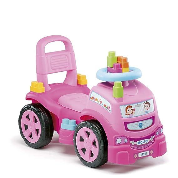 M MOLTO Correpasillos Camión 3 x 1 Rosa con 10 Bloques