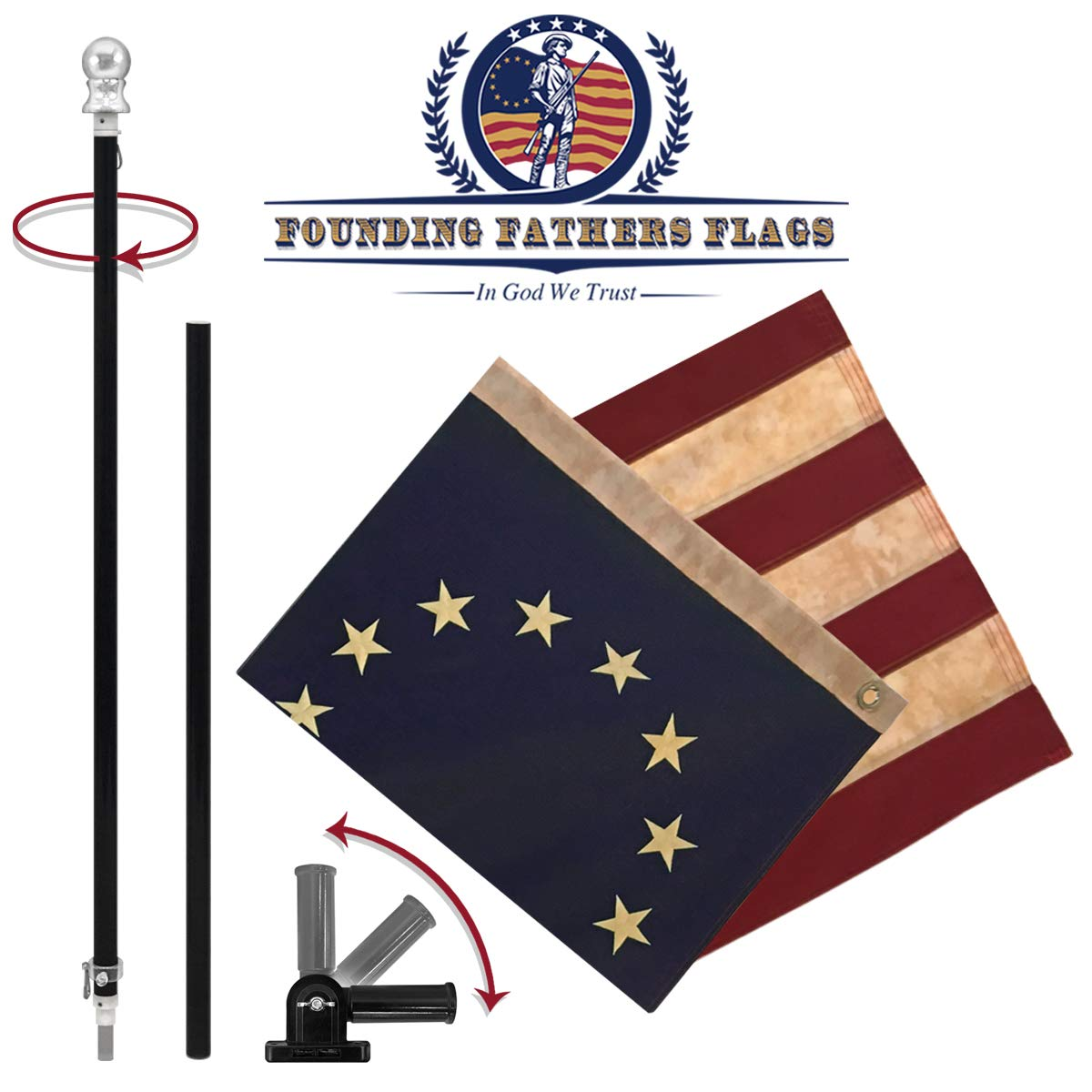 Founding Fathers Flags Betsy Ross Vintage Flag w/Black Label Pole & Bracket Kit