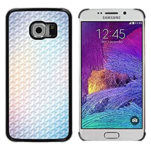 LECELL--Funda protectora / Cubierta / Piel For Samsung Galaxy S6 EDGE SM-G925 -- Yellow 3D Polygon White Minimalist Clean --