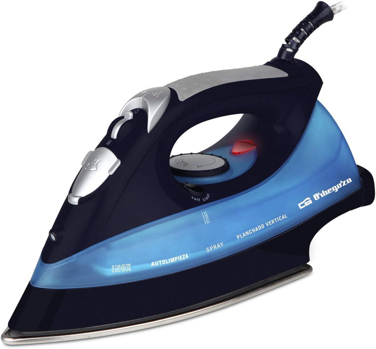 Orbegozo SV 2680 - Plancha ropa vapor, 2600 W de potencia, suela INOX, función autolimpieza, sistema de planchado en seco y con vapor, regulador de temperatura