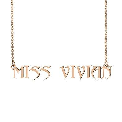 Amazon.com: HUAN XUN - Collar con nombre de oro para mujer ...