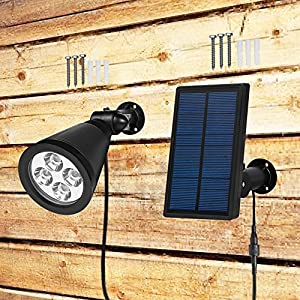[New Upgraded Version]YINGHAO Solar Powered LED Spotlight 2 in 1 Installation IP44 Waterproof Separated Panel and Light, Outdoor Landscape Lighting Waterproof Solar Wall Light Security Night Light (2)