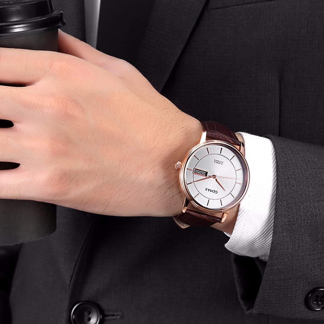 Herrmode armbandsur automatisk mekanisk vardaglig klocka rostfritt stål med läderband, 50 meter vattentät Brun