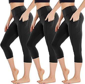 HIGHDAYS 3 Pack Women's Capri Leggings with Pockets - High Waist Capri Yoga Pants for Workout, Athletic, Running