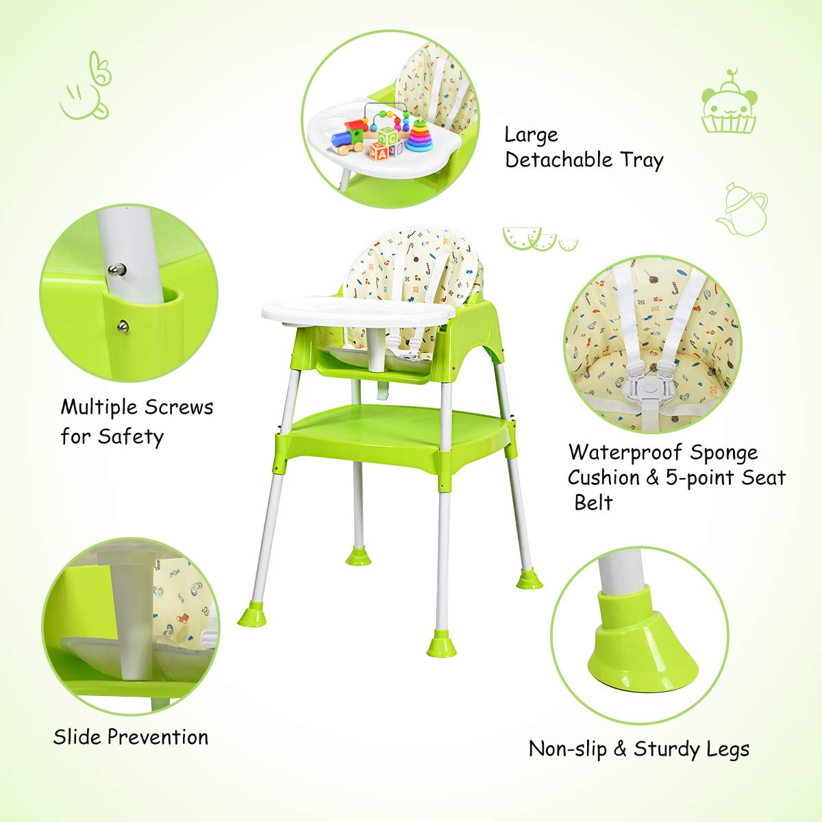 Costzon Convertible High Chair Red Snacker High Chair Seat 4 in 1 Table and Chair Set Baby Feeding with Tray /& Cup Holder Toddler Booster Furniture