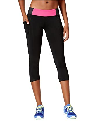 8ac61bcfcbf71 Calvin Klein Women's Performance Capri Leggings (X-Small, Black Cerise  Pink) at Amazon Women's Clothing store: