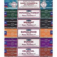 Satya - Juego de 6 - Nag Champa, Amanecer, Sándalo, Medianoche, Patchouli, Celestial 15 gramos