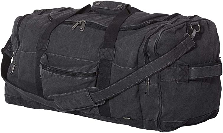 60L Travel Duffel Bag Fatigue// Black DRI DUCK Expedition 25 Concrete Canvas Duffel Bag