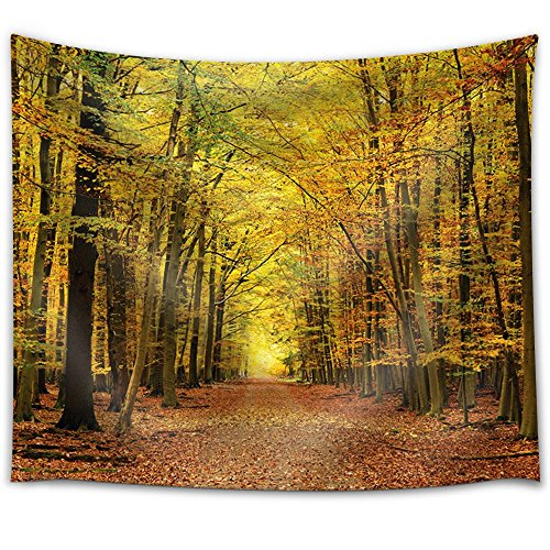 Road Through a Forest During Fall Time Fabric Tapestry