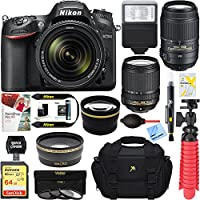 Nikon D7200 DX-format Black Digital SLR Camera Kit (1555) + AF-S 18-140mm & 55-300mm ED VR Lens + Accessory Bundle