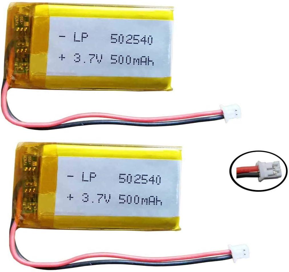 AOLIKES - Batería de repuesto de 3,7 V, 500 mAh, LP 502540 con conector JST PH1.25 de 2 pines para auriculares Bluetooth SM5, MP3, MP4, cámara pequeña, juguetes de videojuegos y más