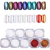 Shell Nail Chrome Powder - Mirror & Opal Effect Holographic Glitter Nail Powder Manicure Pigment Kit - 9 Colors(01-09)