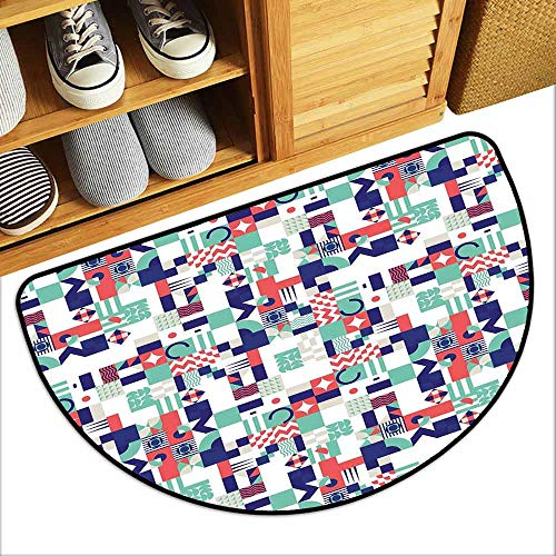 - DILITECK Interior Door mat Mid Century Rich Contemporary Mosaic of Funky and Pastel Shapes Non-Slip Backing W31 xL20 Mint Green Dark Purple Dark Coral