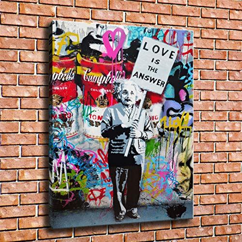lihuaiart Canvas Wall Art Home Wall Decorations for Bedroom Living Room Oil Paintings Canvas Prints Banksy Mr. Brainwash,Love Is The Answer ()