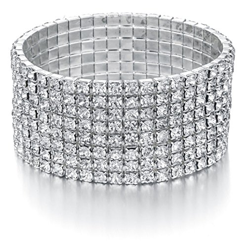 Yumei Jewelry Bridal Rhinestone Bracelet Stretch Silver Tone Ideal for Wedding, Prom, Party or Pageant