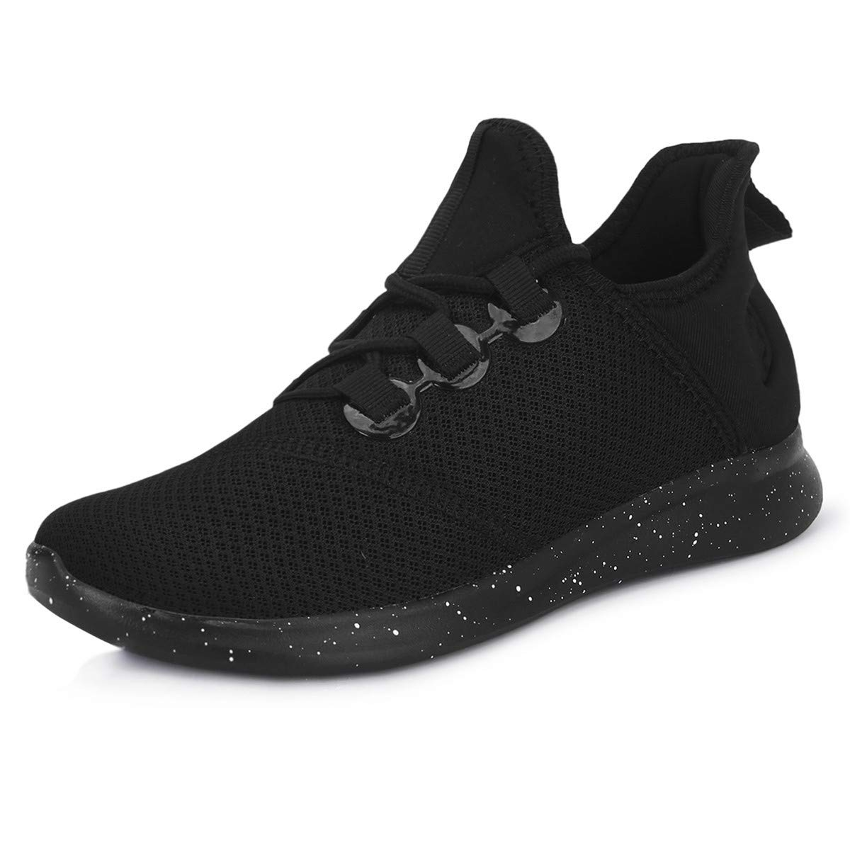 JOINFREE Casual Fashion Black Sports Shoes Workout Trainers Comfortable Mesh Walking Athelic Shoes (Black, 39 EU)