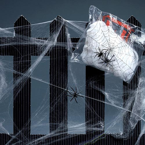 Spider Web Streachable white with (2) Spiders Pkg/1 -