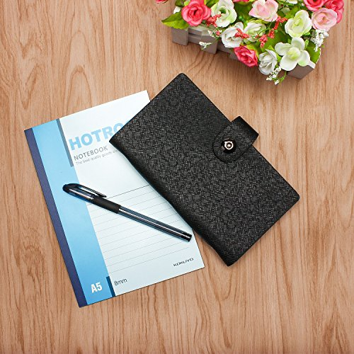 ELOKI Leather Credit Card Holder Book Business Credit Card Organizer Name Card Holder Book Style ID Card Organizer Credit Card Holder Case for 300 Business Cards, Credit Cards and Driver License-Black Photo #7