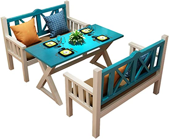 XLOO Juego de Mesa y sillas de Comedor de Cocina de Madera de 3 Piezas, Juego