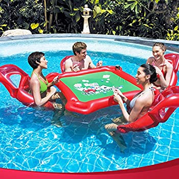 Inflatable Rafts Pool Loungers Floats Mat with Poker and Chips For Pool Party Toys Floating Mattress Poker Tables 4 Persons Set by Ancaixin