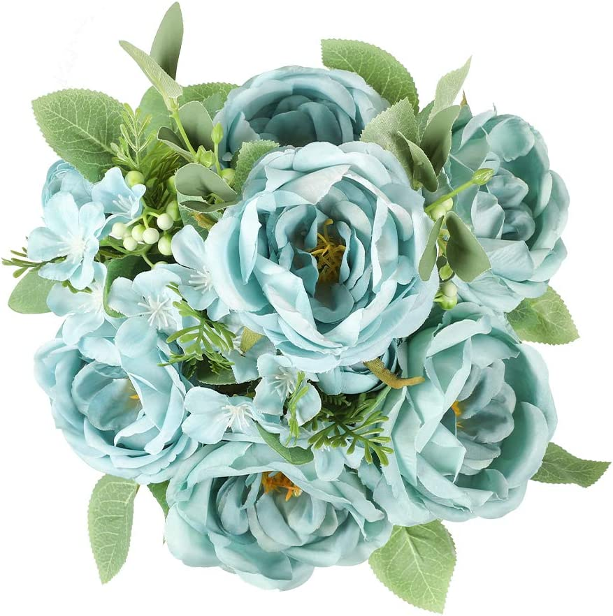 Floweroyal Artificial Peony Vintage Faux Camellia Silk Flowers Bridal Bouquets with 6 Bloomed Flower Heads for Wedding Table Centerpieces Home Floral Arrangements (Blue)