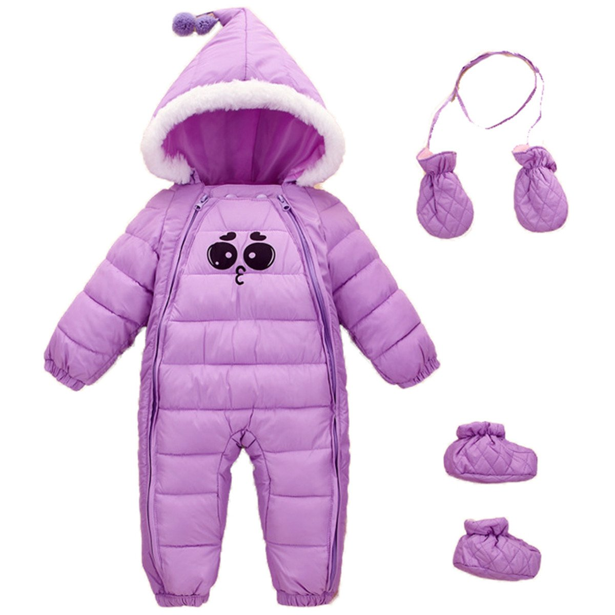 JELEUON Baby Girls Boys One Piece Two Zipper Cartoon Down Jacket Jumpsuit Romper with Gloves and Shoes 6-12 Months Purple by JELEUON