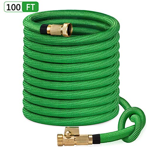 SunGreen 100ft Garden Hose, All New 2019 Expandable Water Hose with 3/4″ Solid Brass Fittings, Extra Strength Fabric – Flexible Expanding Hose with Free Storage Sack