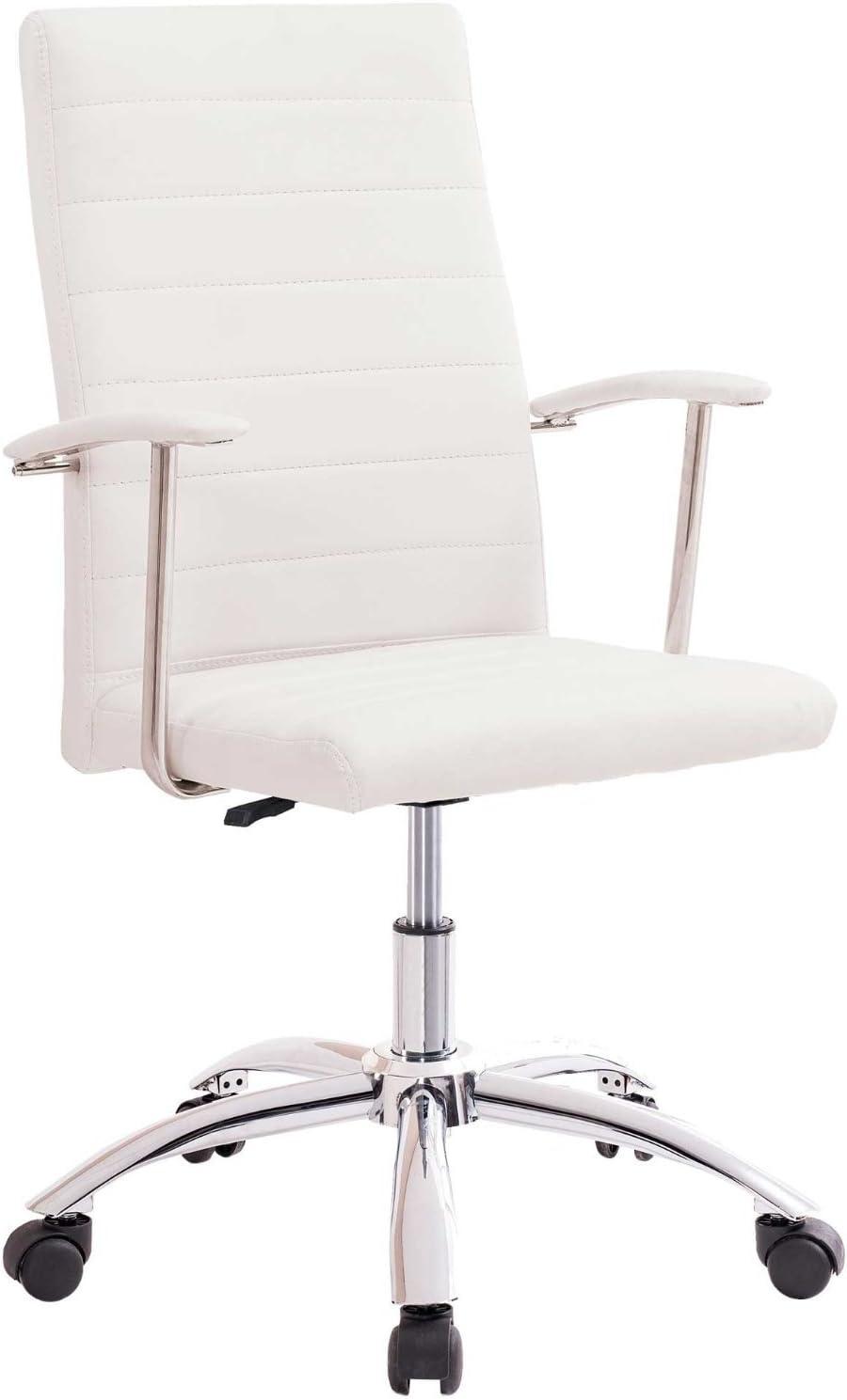 Adec - Silla oficina estudio Look tapizado símil piel Blanco Roto ...