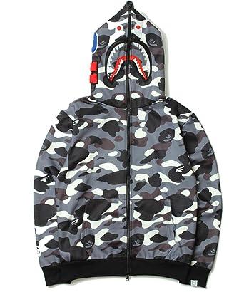NIMOO Bape Black White yin and yang Mosaic Camouflage Shark Men Women  Hoodie Jacket at Amazon Men s Clothing store  5f719dc87