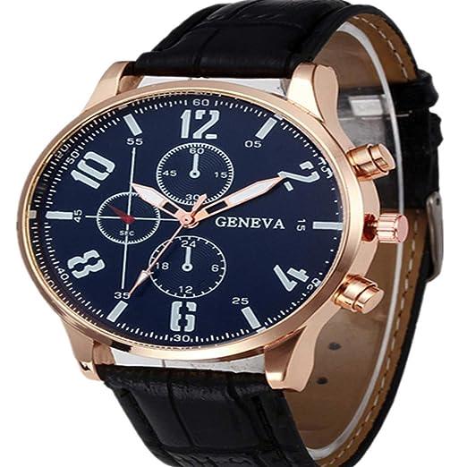 Cebbay Reloj de Cuarzo de los Hombres Esfera de aleación Vintage Liquidación Correa de Cuero Reloj Deportivo Casual de Negocios (Negro): Amazon.es: Relojes