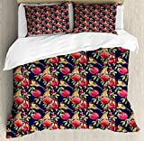 Lunarable Nature Queen Size Duvet Cover Set by, Watercolor Artwork with Exotic Birds and Pomegranate Fruit Flowers Hawaii Jungle, Decorative 3 Piece Bedding Set with 2 Pillow Shams, Multicolor