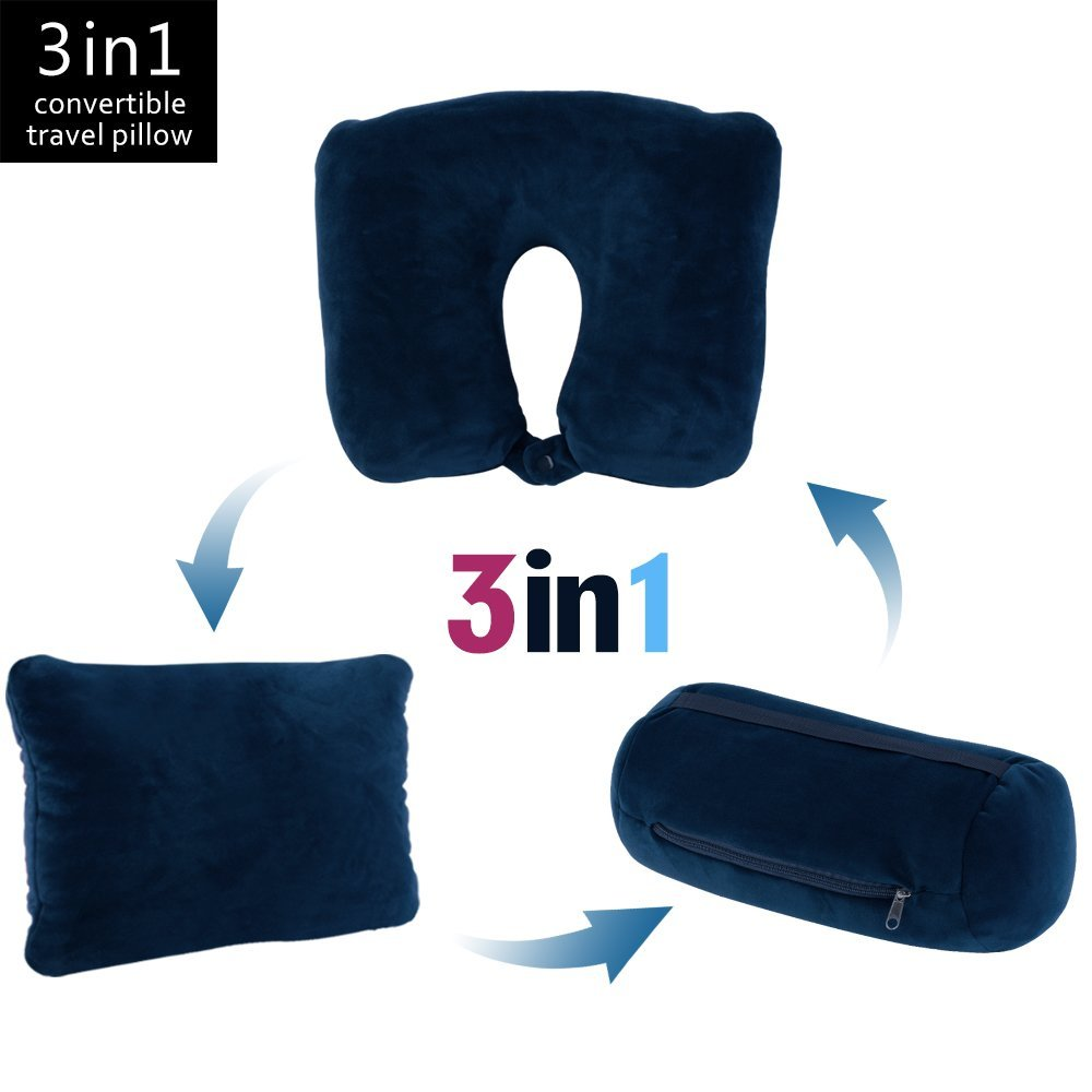 Jml 3 in 1 Travel Pillow - Feather Soft Neck Support Pillow with Foam Particles for Business Travel and Home (Navy)