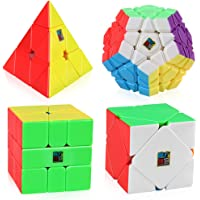 D-FantiX Speed Cube Bundle, Moyu Mofang Jiaoshi Megaminx Pyramid Skewb Square-1 Cube Stickerless Magic Cube Set with Gift Box (Stickerless)
