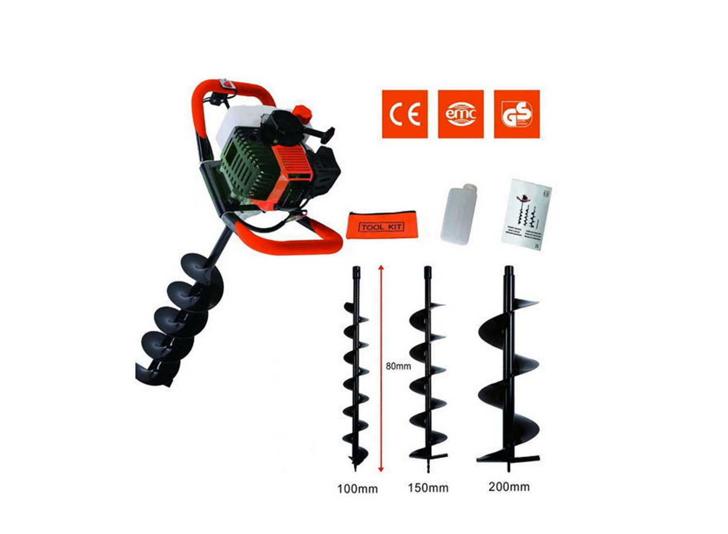 CHIKURA 52CC 2-strokes Ground Drill Earth Auger Hole Digger Garden Tools with drill bit (52cc with 100mm bit) Mingda Ltd