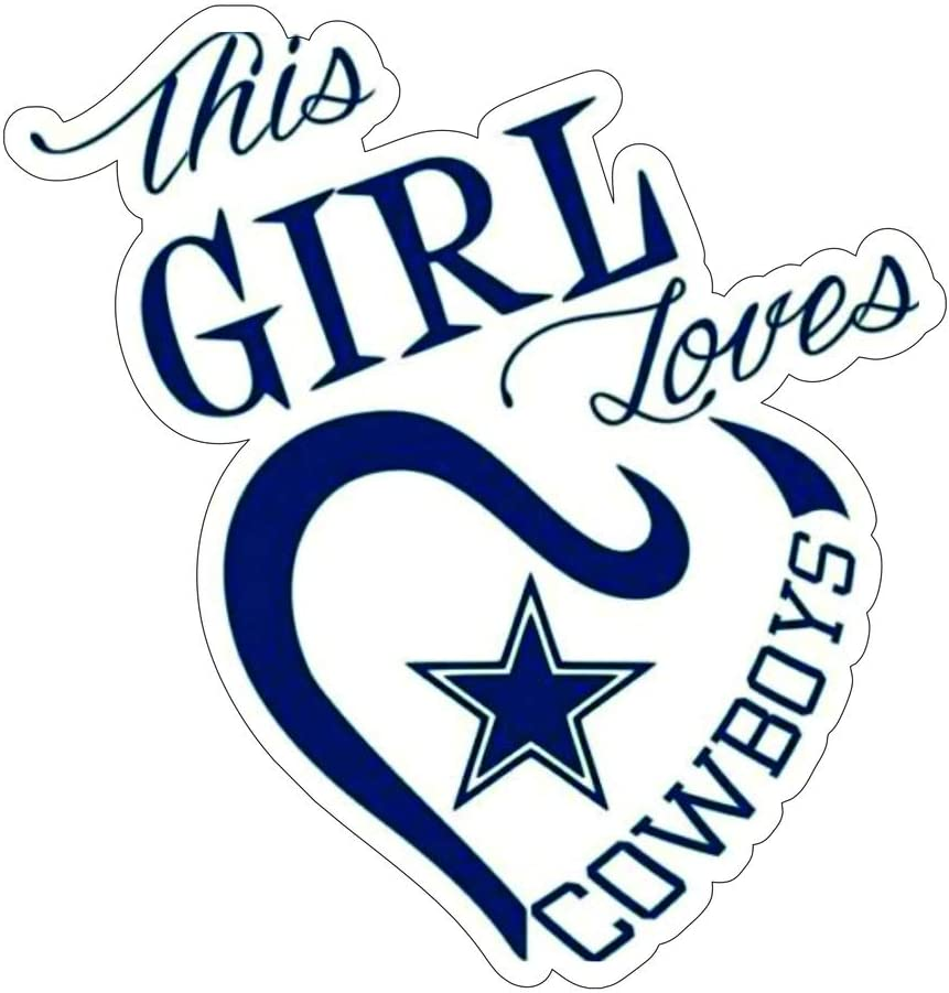 This Girl Loves Dallas Cowboy Stickers (4 Size) Dallas Cowboy Decal Vinyl for car bamper, Truck, Laptop, tumblers, Team Colors (7 Inch)